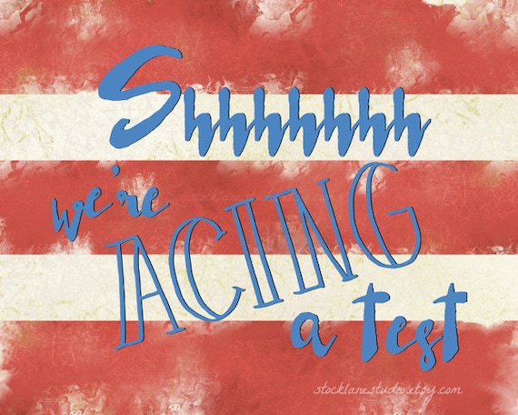 Shhh testing print patriotic 8x10 red white by StockLaneStudio