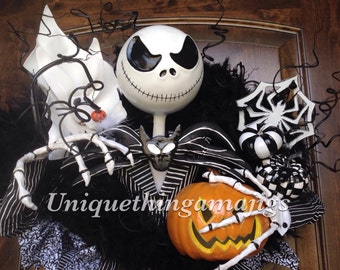 Halloween Wreath, Nightmare Before Christmas Inspired Jack Skellington , Pre Order 2016 Delivery! Please See Production Time