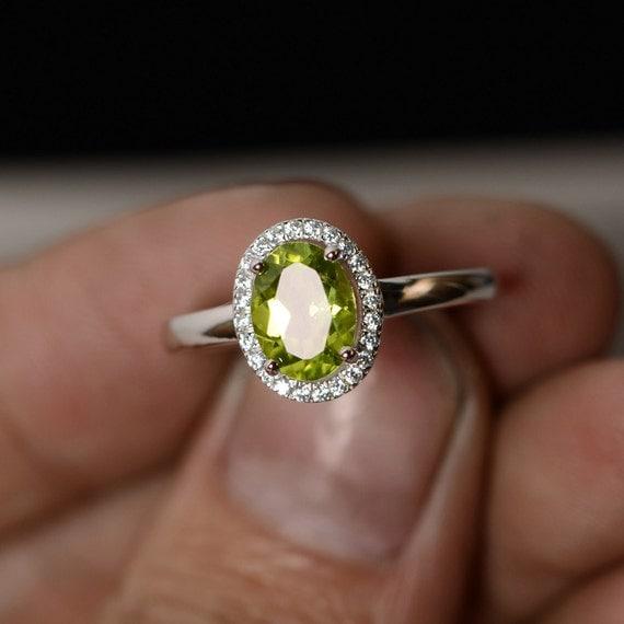 Natural Peridot Ring August Birthstone Ring Gemstone Ring