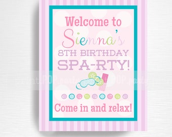 Spa Birthday Party Printable Door Sign YOU Print Spa Party