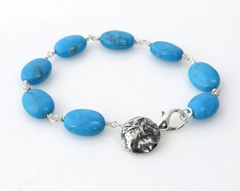 Turquoise Bead and Sterling Silver Clasp Bracelet with a Sterling Silver Horse Button Charm