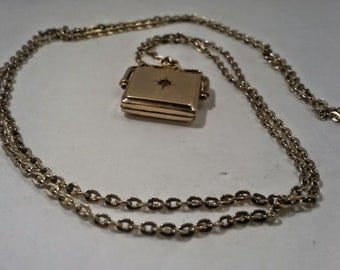 """Vintage14K Solid Gold 32"""" Link Chain With14K Solid Goldfilled Pendant With CZ."""