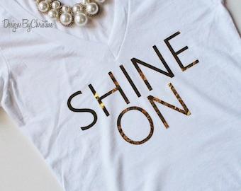 Gold Metallic Shirt. Shine On. Fashion Tee