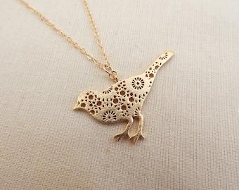 Bird Necklace Gold, Lazer Cut Bird Charm