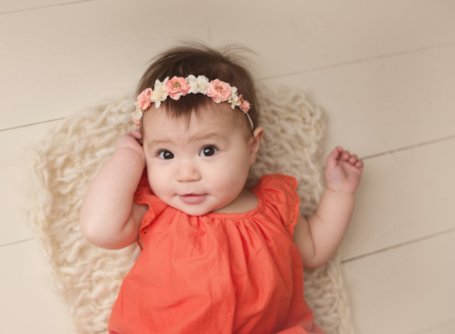 baby flower crown headband newborn flower crown coral baby. Black Bedroom Furniture Sets. Home Design Ideas