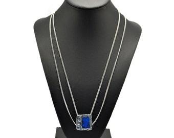 Avant garde royal blue necklace, blue necklace, royal blue pendant, stainless steel necklace, pewter pendant, minimalist necklace
