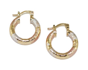 925 Sterling Silver Three Tone Petite Hoop Earrings No Stones