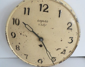 Antique French wall Clock by Bayard,  Painted metal ware, Shabby Chic ,40's