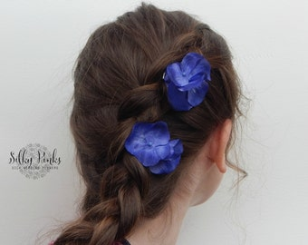Blue Hair Clips, Hydrangea Hair Accessories, Wedding Hair Flowers, Festival Hair Decorations, Dark Blue Hair Clasps, Set of two Hair Clips