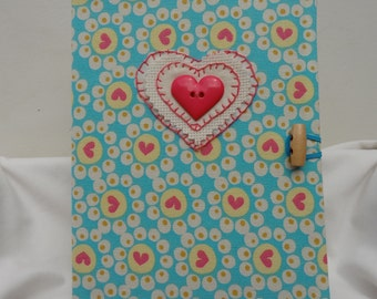 Handmade Wedding Guest Book, A5 Sketch Book, linen turquoise and pink fabric, Unique!  Comes boxed.
