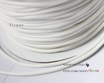 Sale 40 Yards Uncut 2mm White Wax Cords, Environmental Protection Wax Cords WS204