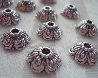 Sale! 26 Ornate Vintage, Retro Domed Flower Caps. 11x5mm,  Antiqued Silver.  Hole-2mm  Gorgeous!  *USPS Ship Rates from Oregon*