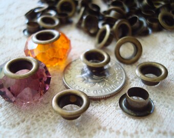 Closeout!  150 Bronze Grommets For European Bracelet Beads. Wholesale! Fits all Euro Beads. Antique Bronze Finished BRASS.  ~USPS Ship Rates