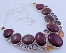 free shipping f-102 Maroon & Landscpe Jasper - Smoky -Citrine .925 Silver handmade Necklace