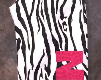 Personalized Zebra Print with Hot Pink Applique Pajama or Lounge Pants.  Have any word or name appliqued on them!