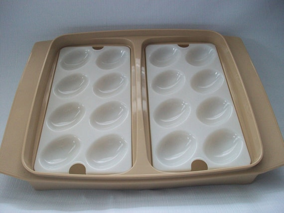 Items similar to beige tupperware deviled egg tray with no for Egg tray craft