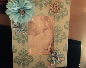 Boy baby embellished picture frame