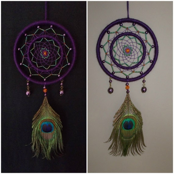 5 inch purple and green dream catcher with by windalacrafts for How to make a double ring dreamcatcher