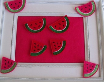 Watermelon Feltie   Summer , July 4th Two colors, Slice or Piece