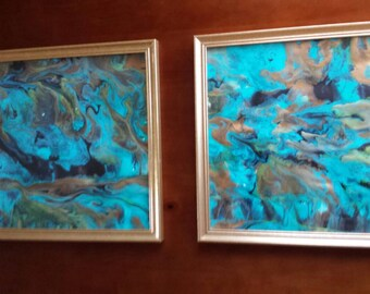 Psychedelic original painting in gold frame