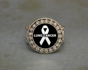 Lung Cancer Awareness Stretchy Ring