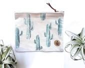 Cactus Clutch ARIZONA - 100% Natural Canvas - Envelope - Watercolor Handpainted - Premium Quality -  Leather