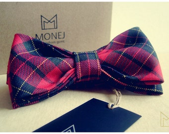 Red Mens Bow Tie -FREE SHIPPING- Handmade Limited Edition Wool Bowtie - Groomsmen Bow Tie - Luxury Mens Gift - Pre-Tied - Vintage