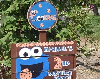 Cookie Monster Birthday Yard Sign