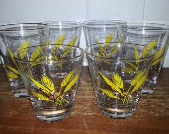 6 Vintage Yellow & Brown Wheat Juice Glasses with Gold Rims