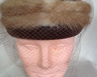 Mink Hat with Bow Vintage