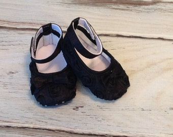 Baby Girl, Black Satin Rosette Crib Shoes, Christening, Baptism, Wedding, Baby shoes