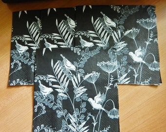 Four Birds and Flowers Dinner Napkins Black & White Decoupage Altered Art Collage Mixed Media