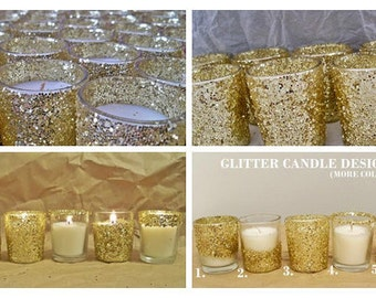 25 votives, votive candle holder,  wedding centerpiece, wedding decorations, gold centerpiece, wedding candle, wedding favors, wedding decor