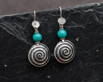 Sterling Silver Spiral Drop Earrings - Turquoise or Geometric Silver Bead