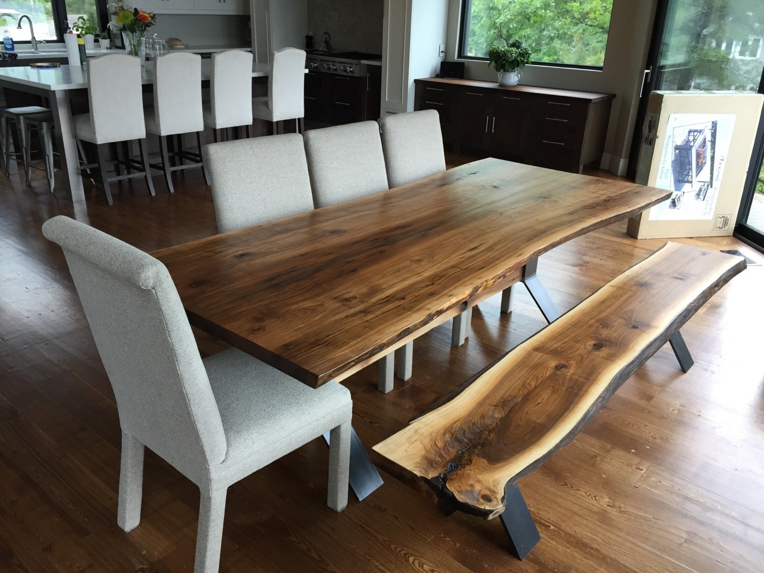 Live Edge Black Walnut Dining Table With Bench Live Edge
