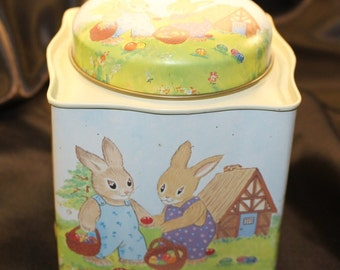 Vintage Bunnies Pickin Easter Eggs Decorative Tin