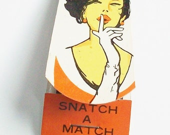 Vintage Pack of Matches with a Secret / 1960's Clip Art / Mad Men / Weird