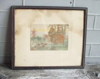 "Vintage Framed Print of Napping Cows / ""The Siesta"" by David Davidson / Vintage Pastural Scene"