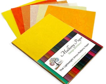 """Mulberry Kozo Paper in 6 Yellow and Orange Shades for Arts, Crafts and Scrapbooking (24 Sheets of 8.5"""" x 11"""" Paper) - Light Weight"""