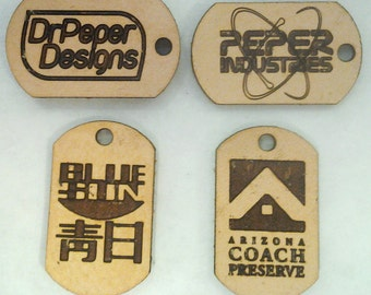 Customized/Personalized Leather Rawhide Dog Tags, set of 4 (or more). 3 sizes.  Zipper Pulls/Pendants/Tablet/Phone/Luggage