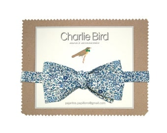 """Flowered Charlie Bird bow tie on Liberty """"Katie and Millie"""""""