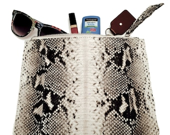 Black and White zippered snakeskin pouch