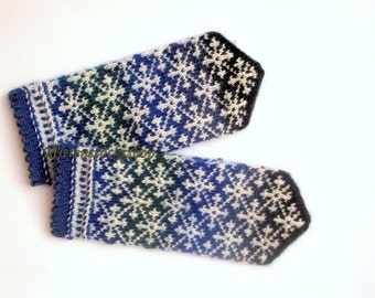 Hand Knitted Blue Green Black Mittens Hand Knitted Blue Green Black Gloves Women's Mittens Patterned Mittens Winter Mittens Winter Gloves