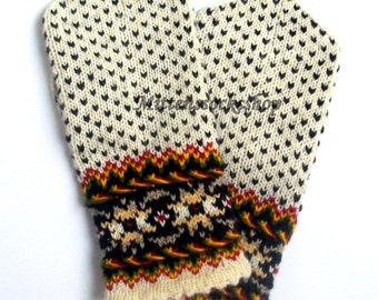 White Black Hand Knitted Wool Mittens Hand Knit White Black Wool Gloves Women's Mittens Men's Mittens Colorful Latvian Mittens with Pattern