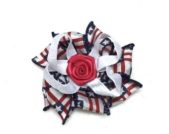 Patriotic Hair Bow/Flower, Hair Clip for your little Princess.