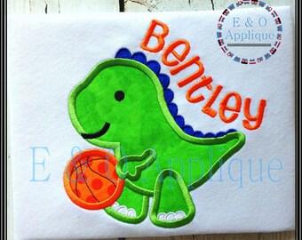 Dino Applique Design - Basketball Applique Design - Basketball Embroidery Design - Dino Embroidery Design - Dinosaur Embroidery Design