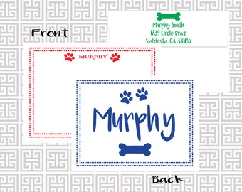 Dog notecards, Pet stationery, dog stationery, paw print notes, Personalized stationery, dog lover gift, fur babies