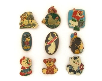Cartoon characters, Children's badges, Pick from Set, Animal, Hare, Cat, Vintage collectible badge, Soviet Pin, Soviet Union, Made in USSR