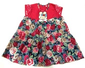 1-2 years old cotton dress-Girls' dress-Cotton baby dress-Babies clothing-Children's clothing-Flower dress-Godfather's gift-Godmother's gift