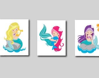 Mermaid Print, Girls Print, Mermaids Art Print 667